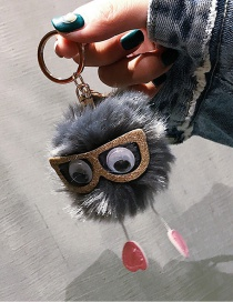 Cute Gray Sunglasses Decorated Key Chain
