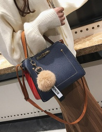 Fashion Blue Fuzzy Ball Decorated Bag
