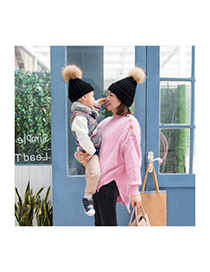 Lovely Black Fuzzy Ball Decorated Children Hat (2-10 Age )