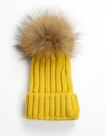 Lovely Yellow Fuzzy Ball Decorated Adult hat