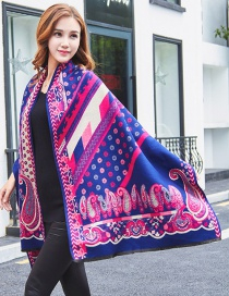 Fashion Navy Printing Flower Shape Decorated Scarf