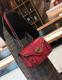 Vintage Red Pure-color Decorated Square Shape Bag