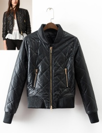 Fashion Black Pure Color Decorated Jacket