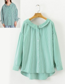 Elegant Green Pure Color Decorated Shirt