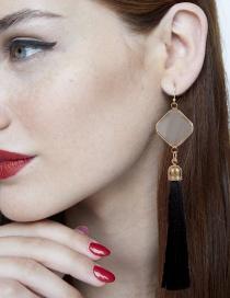 Fashion Black Square Shape Decorated Tassel Earrings