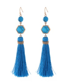 Elegant Blue Pure Color Decorated Earrings
