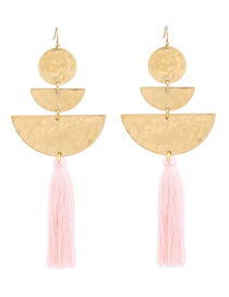 Fashion Pink Semicircle Shape Decorated Tassel Earrings