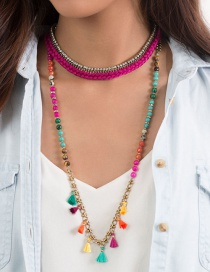 Fashion Multi-color Tassel Decorated Necklace