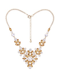 Fashion Champagne Oval Shape Decorated Necklace