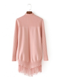 Fashion Pink Pure Color Decorated Tassel Sweater