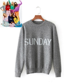 Retro Gray Letter Shape Decorated Sweater