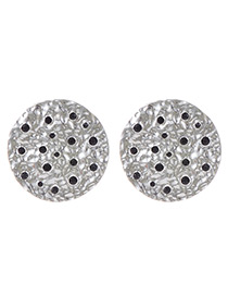 Vintage Silver Color Metal Round Shape Decorated Earrings