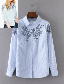 Fashion Blue Pure Color Decorated Long Sleeves Shirt