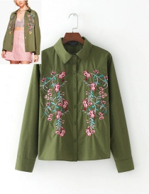 Fashion Army Green Embroidery Flower Shape Decorated Shirt