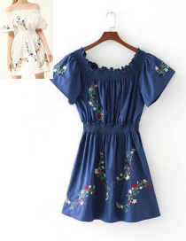 Elegant Navy Embroidery Flower Shape Decorated Dress