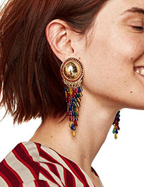 Elegant Multi-color Round Shape Decorated Tassel Earrings