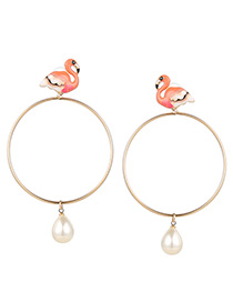 Fashion Champagne Flamingo Shape Decorated Earrings