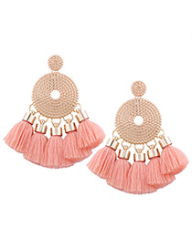 Bohemia Dark Pink Round Shape Decorated Tassel Earrings