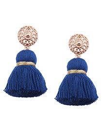 Bohemia Blue Tassel Decorated Earrings