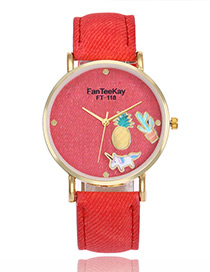 Lovely Red Cartoon Patterndecorated Watch