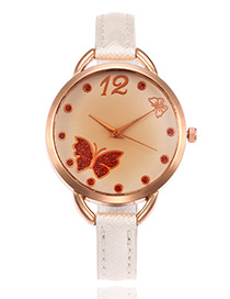 Elegant White Butterfly Shape Decorated Watch