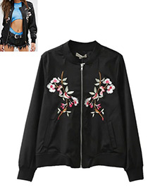Fashion Black Flower Decorated Jacket