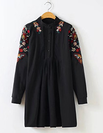 Fashion Black Flower Decorated Shirt