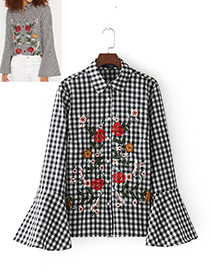 Fashion White+black Embroidery Flower Decorated Flare Sleeves Shirt