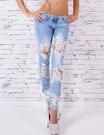 Fashion Light Blue Pure Color Decorated Trousers