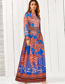 Fashion Orange+blue Flower Pattern Decorated Dress