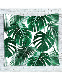 Fashion Green +white Leaf Pattern Decorated Blanket
