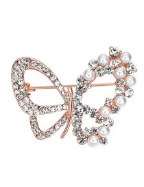 Elegant Gold Color Butterfly Shape Decorated Brooch