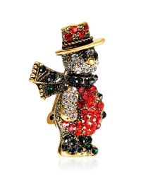 Lovely Brozen+red Snowman Shape Decorated Brooch
