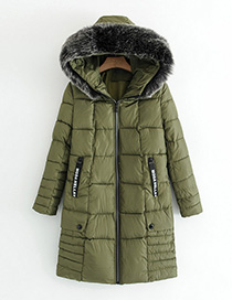 Fashion Army Green Pure Color Decorated Long Coat