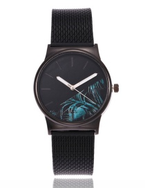 Fashion Blue Leaf Shape Decorated Watch