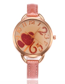 Lovely Pink Double Heart Shape Decorated Watch
