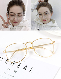 Fashion Gold Color Pure Color Decorated Glasses