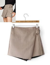 Fashion Khaki Pure Color Decorated Shorts
