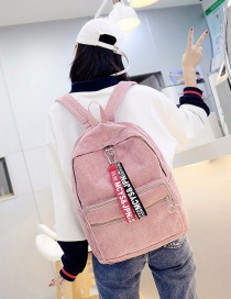 Fashion Pink Pure Color Decorted Backpack