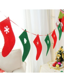 Fashion Red+green Snowflake Pattern Decorated Sock Shape Christmas Ornaments(8pcs)