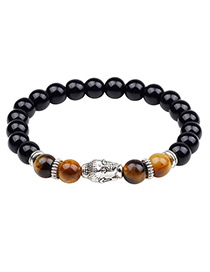 Fashion Brown +silver Color+black Buddha Head Shape Decorated Bracelet