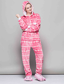 Fashion Pink Snowflake Pattern Decorated Pajams