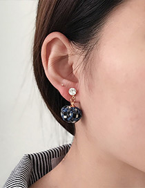Fashion Blue Ball Decorated Earrings