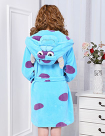 Fashion Blue Cattle Shape Decorated Nightgown