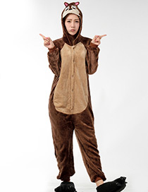 Fashion Brown Mouse Ear Shape Decorated Nightgown