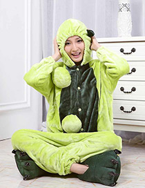 Fashion Green Pea Shape Decorated Nightgown
