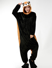 Fashion Black+brown Raccoon Shape Decorated Nightgown