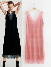 Fashion Pink Pure Color Deocrated V Neckline Dress