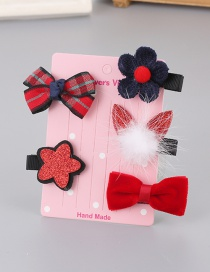 Lovely Red+black Rabbit&flower Decorated Haipin(5pcs)