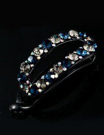 Fashion Sapphire Blue+gray Diamond Decorated Color Matching Hairpin